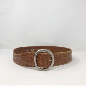 Italian Saddle Leather Braided Belt Medium